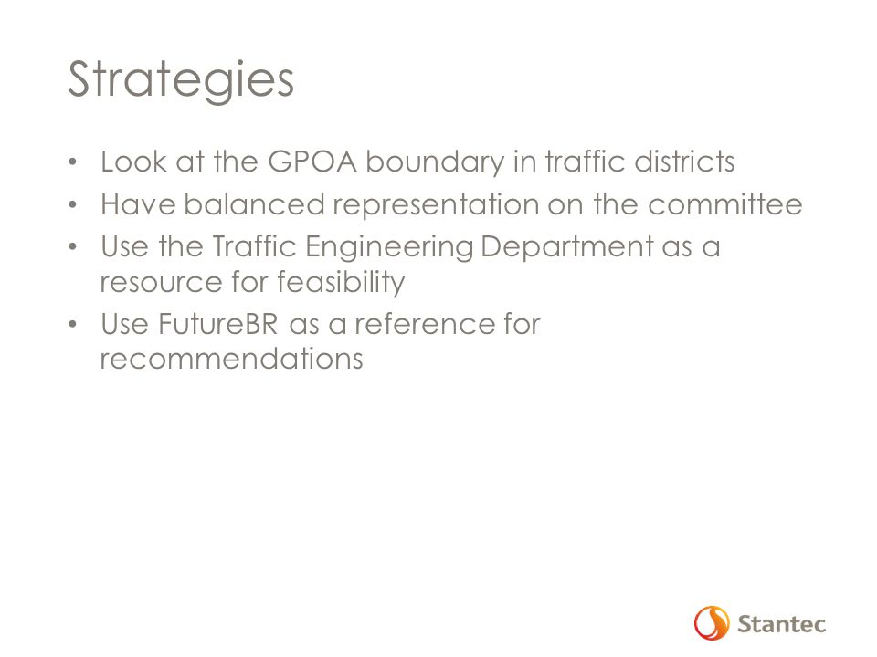 Strategies Look at the GPOA boundary in traffic districts