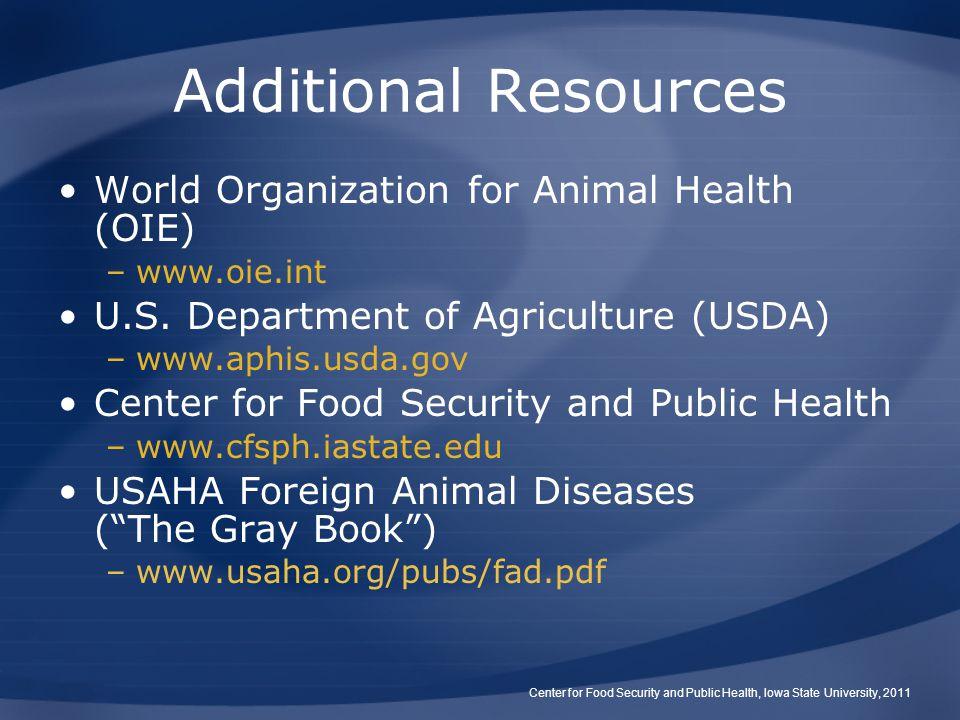 Additional Resources World Organization for Animal Health (OIE)