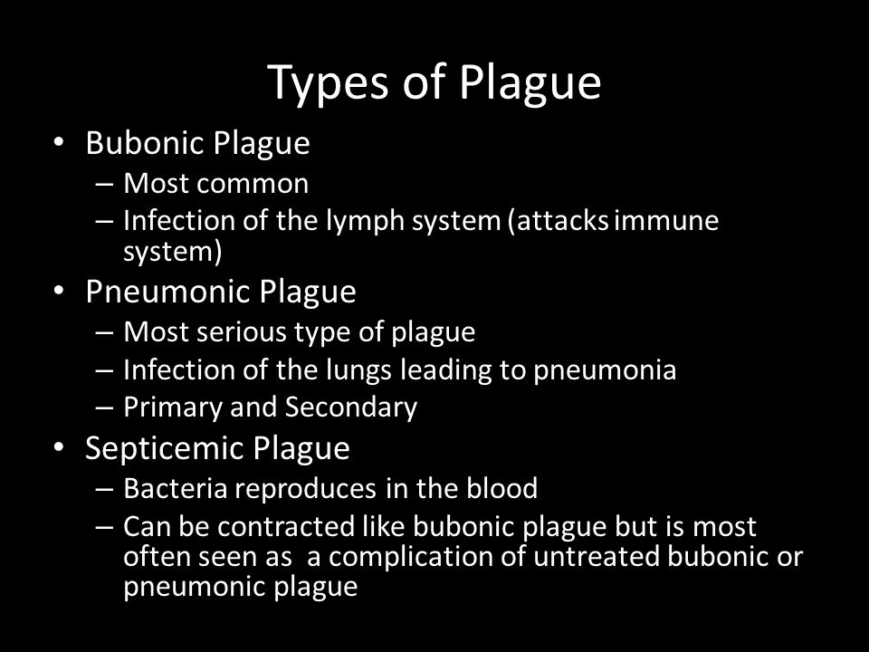 Types of Plague Bubonic Plague Pneumonic Plague Septicemic Plague