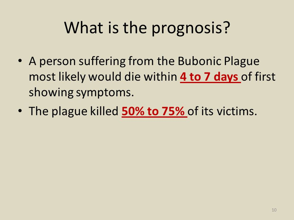 What is the prognosis A person suffering from the Bubonic Plague most likely would die within 4 to 7 days of first showing symptoms.