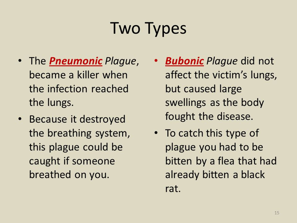 Two Types The Pneumonic Plague, became a killer when the infection reached the lungs.