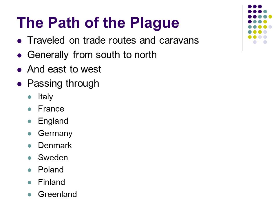 The Path of the Plague Traveled on trade routes and caravans