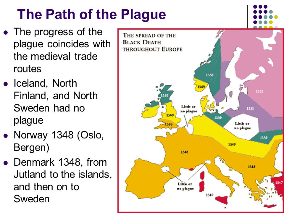 The Path of the Plague The progress of the plague coincides with the medieval trade routes. Iceland, North Finland, and North Sweden had no plague.