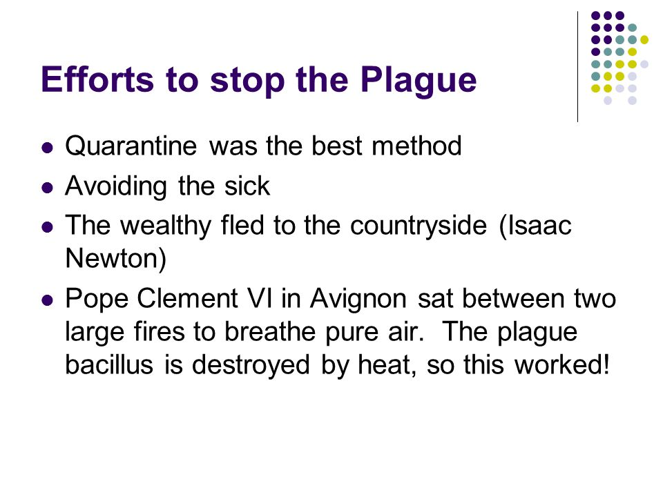 Efforts to stop the Plague