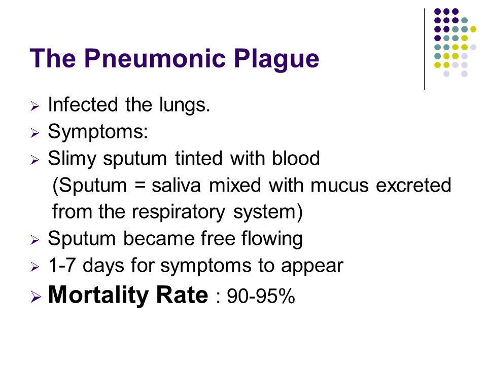 The Pneumonic Plague Mortality Rate : 90-95% Infected the lungs.