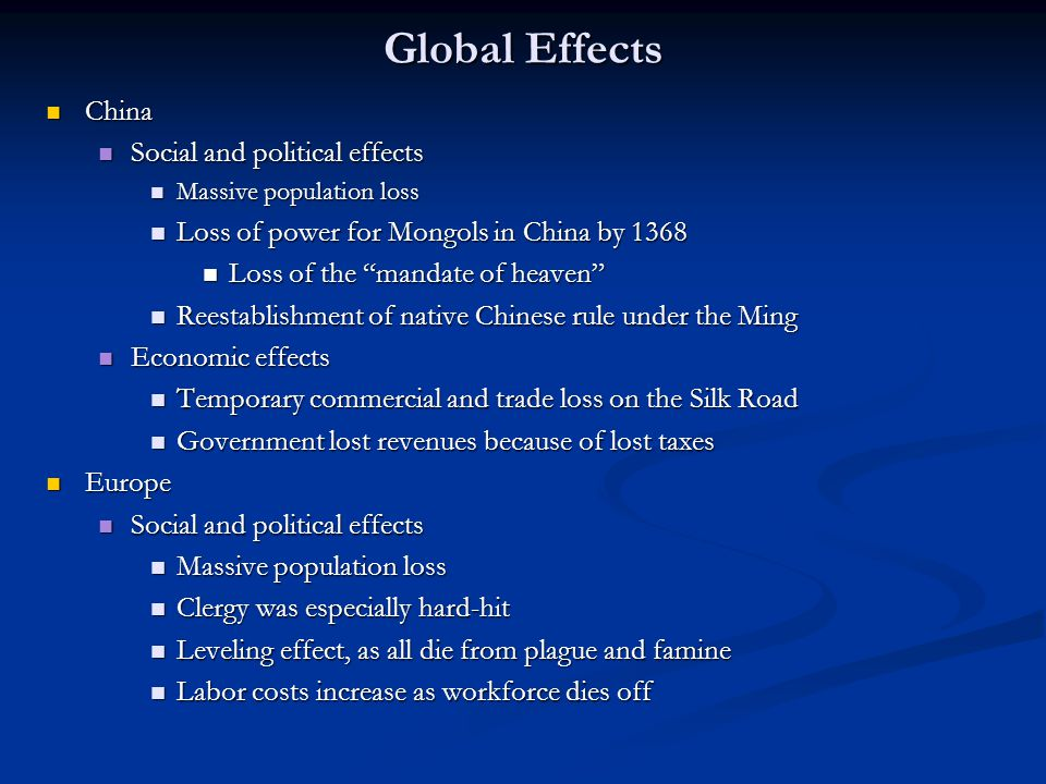 Global Effects China Social and political effects