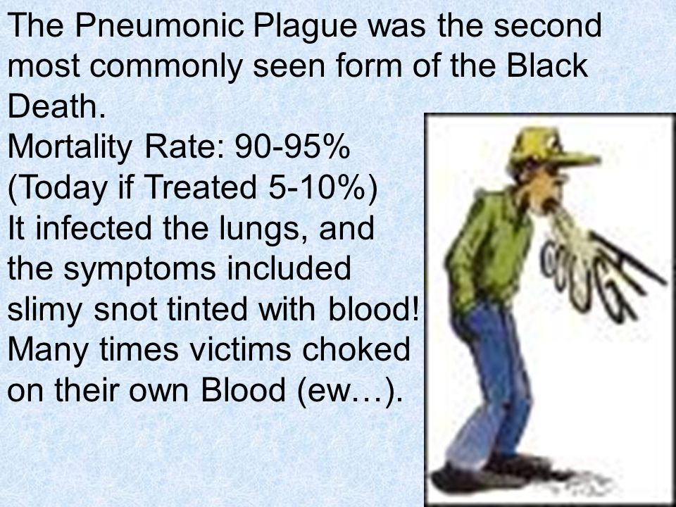 The Pneumonic Plague was the second most commonly seen form of the Black Death.