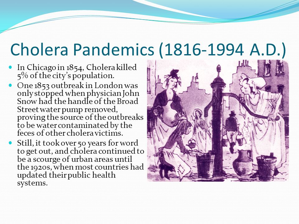 cholera outbreak and pandemics - vibrio cholerae and cholera - the history and global impact abstract cholera is a diarrhea disease caused by the bacteria, vibrio cholera for centuries, cholera has terrorized the world there have been seven pandemics since 1817 and many lives have been lost.