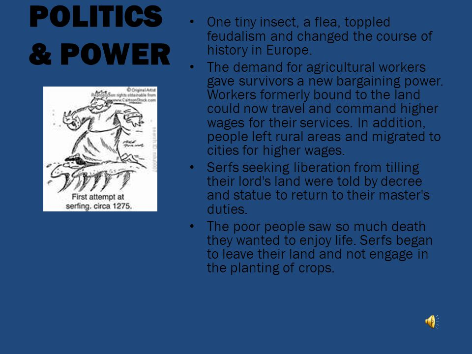 POLITICS & POWER One tiny insect, a flea, toppled feudalism and changed the course of history in Europe.