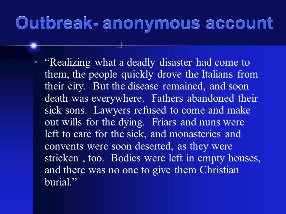 Outbreak- anonymous account