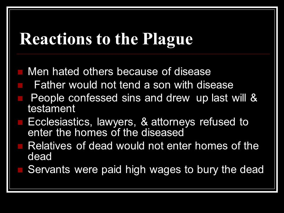Reactions to the Plague