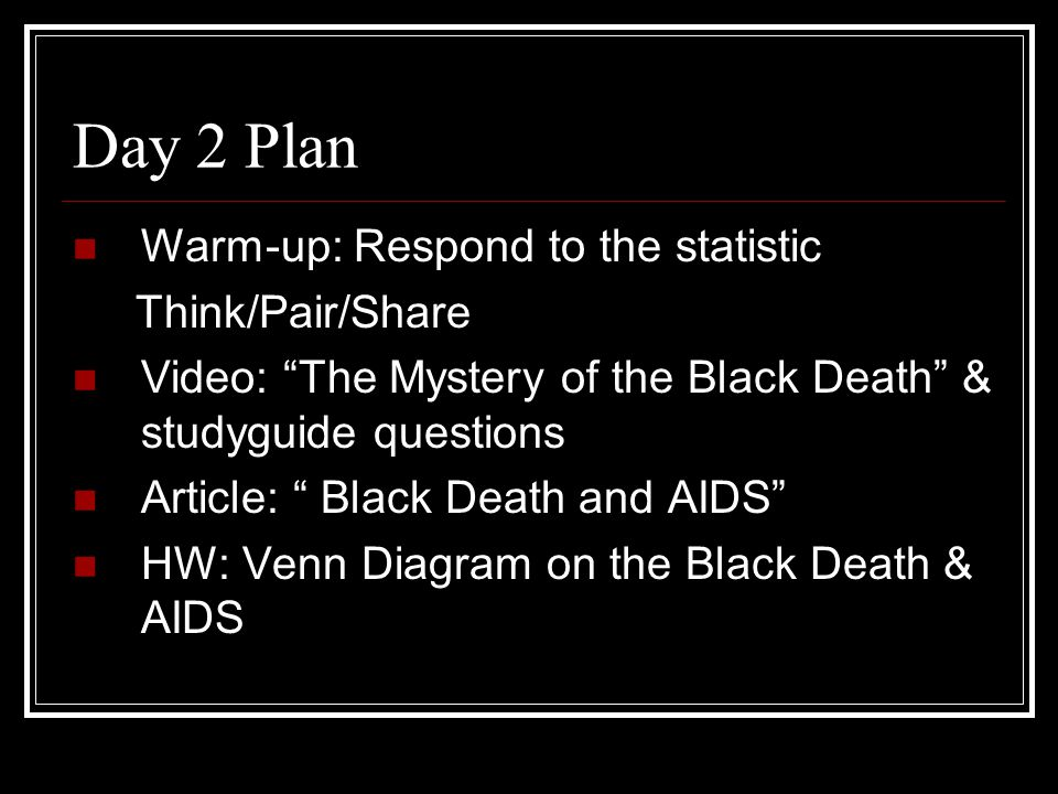 Day 2 Plan Warm-up: Respond to the statistic Think/Pair/Share
