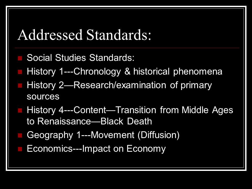 Addressed Standards: Social Studies Standards: