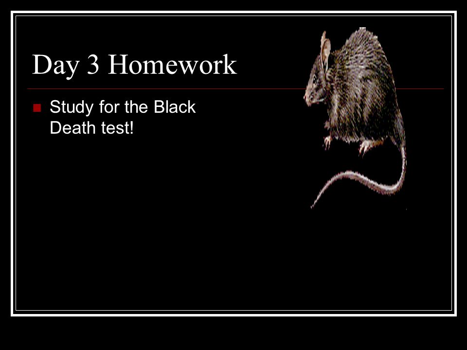 Day 3 Homework Study for the Black Death test!