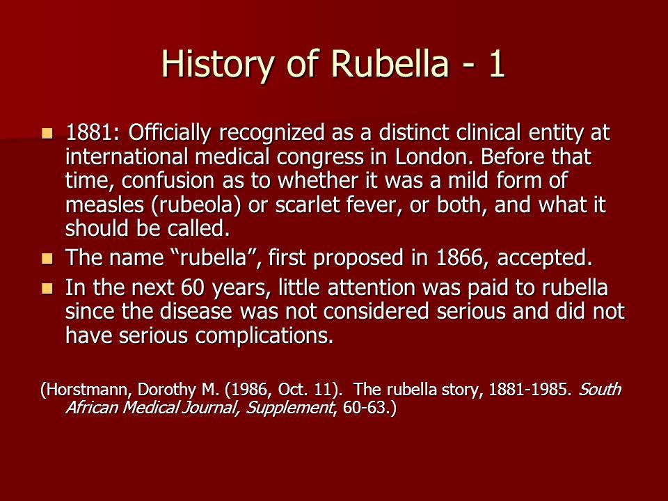 History of Rubella - 1