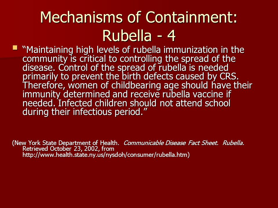 Mechanisms of Containment: Rubella - 4