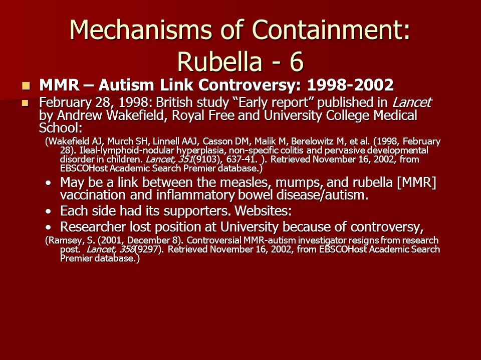 Mechanisms of Containment: Rubella - 6