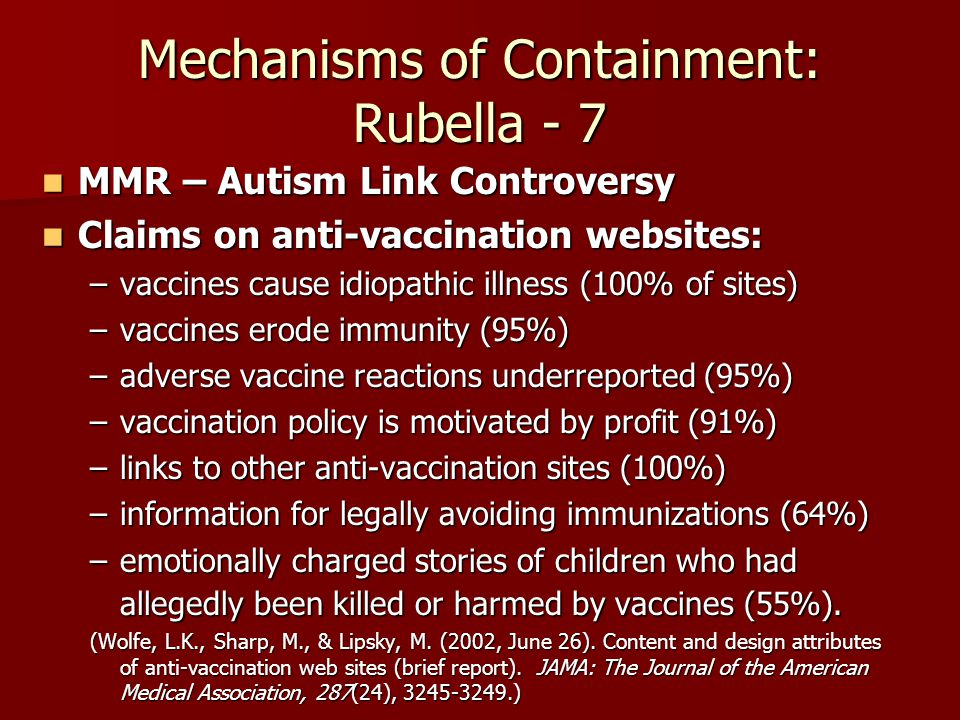 Mechanisms of Containment: Rubella - 7