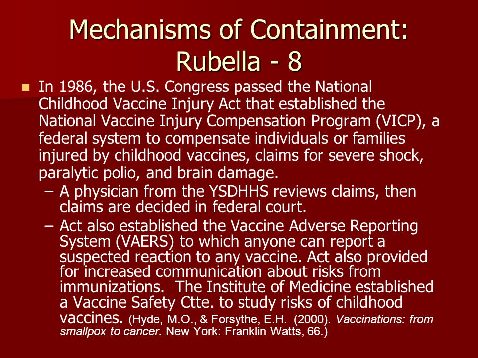 Mechanisms of Containment: Rubella - 8