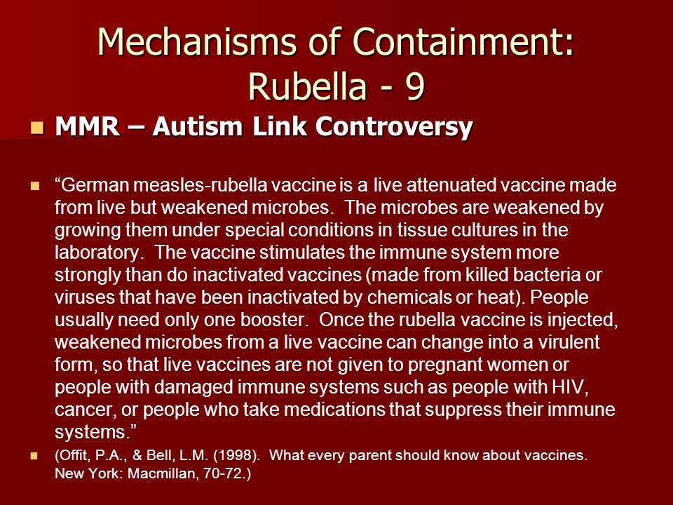 Mechanisms of Containment: Rubella - 9