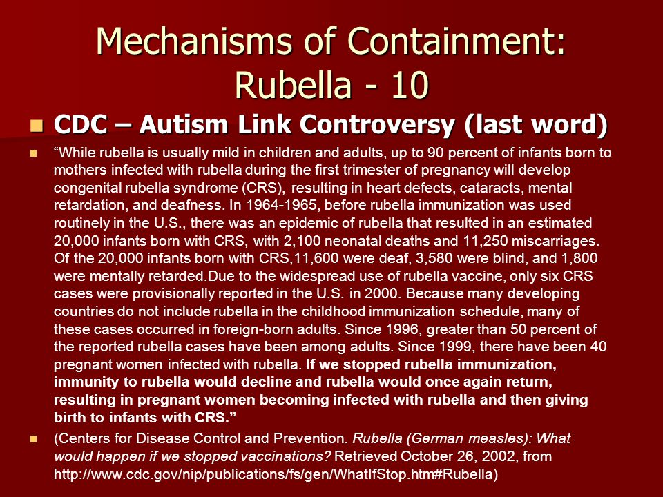 Mechanisms of Containment: Rubella - 10