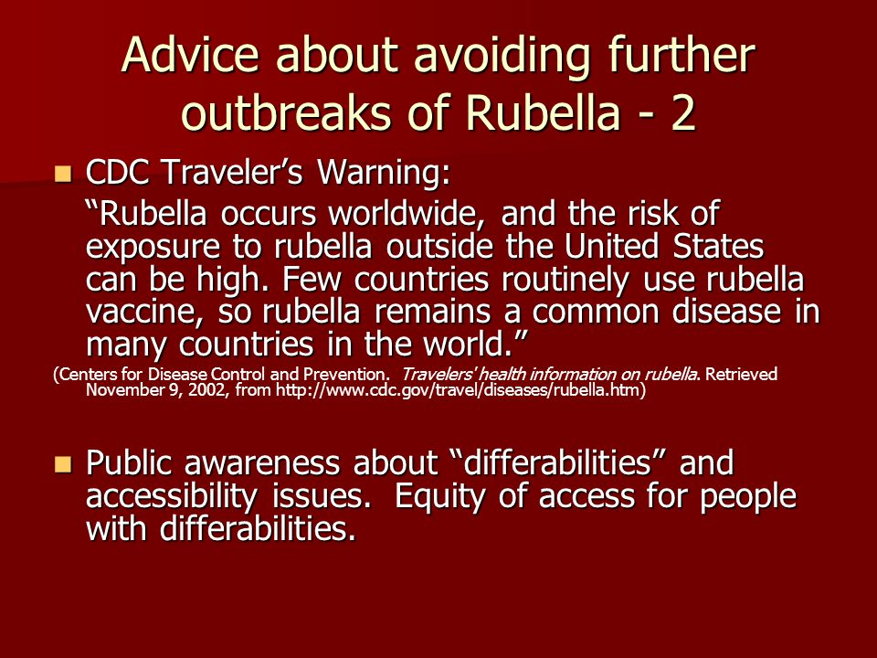 Advice about avoiding further outbreaks of Rubella - 2