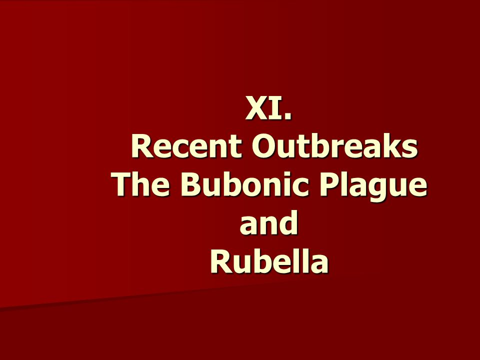XI. Recent Outbreaks The Bubonic Plague and Rubella