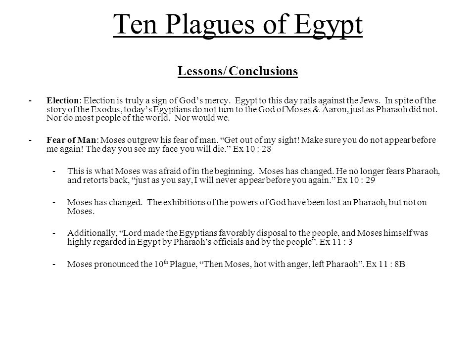 Ten Plagues of Egypt Lessons/ Conclusions