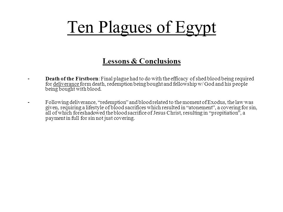 Ten Plagues of Egypt Lessons & Conclusions