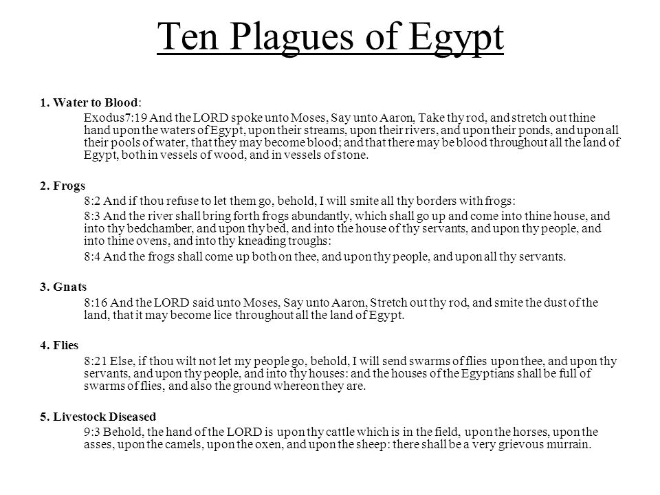 Ten Plagues of Egypt 1. Water to Blood: