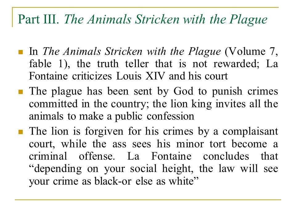 Part III. The Animals Stricken with the Plague