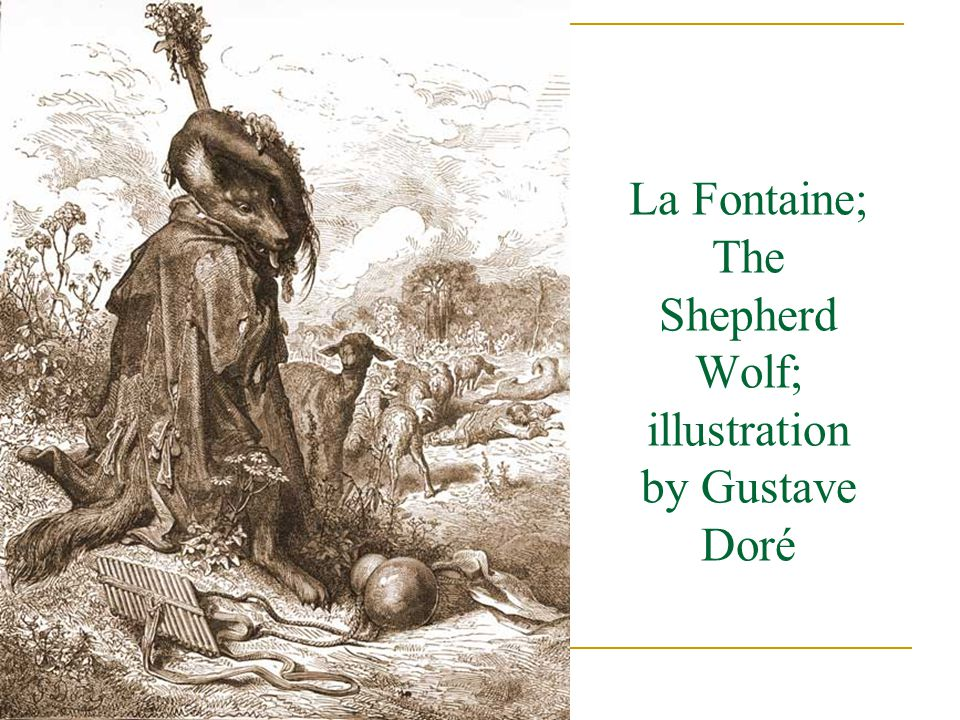 La Fontaine; The Shepherd Wolf; illustration by Gustave Doré