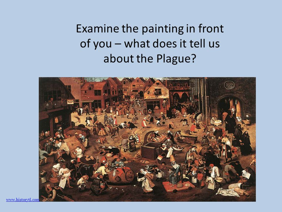 Examine the painting in front of you – what does it tell us about the Plague
