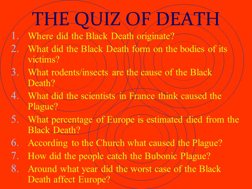 THE QUIZ OF DEATH Where did the Black Death originate