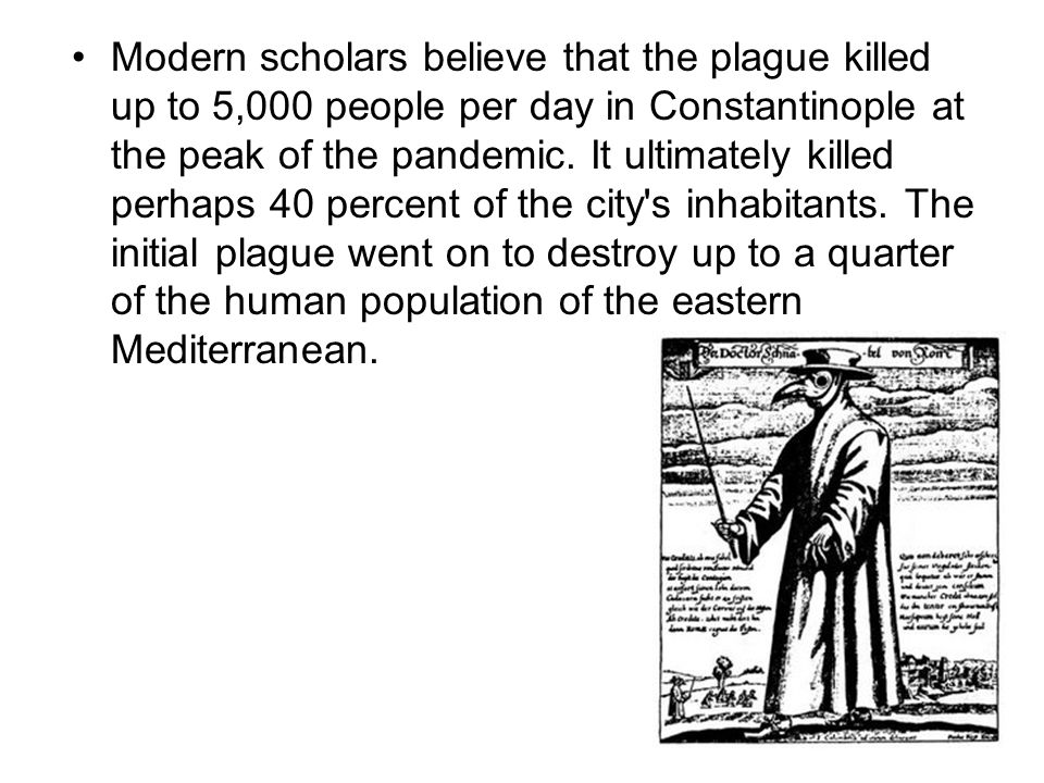 Modern scholars believe that the plague killed up to 5,000 people per day in Constantinople at the peak of the pandemic.