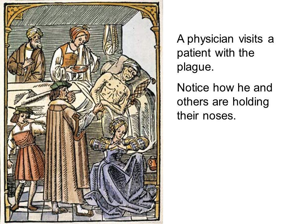 A physician visits a patient with the plague.