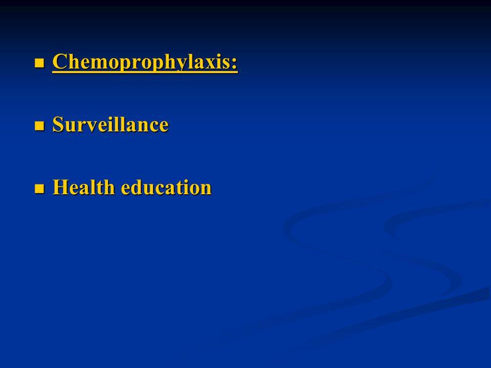 Chemoprophylaxis: Surveillance Health education