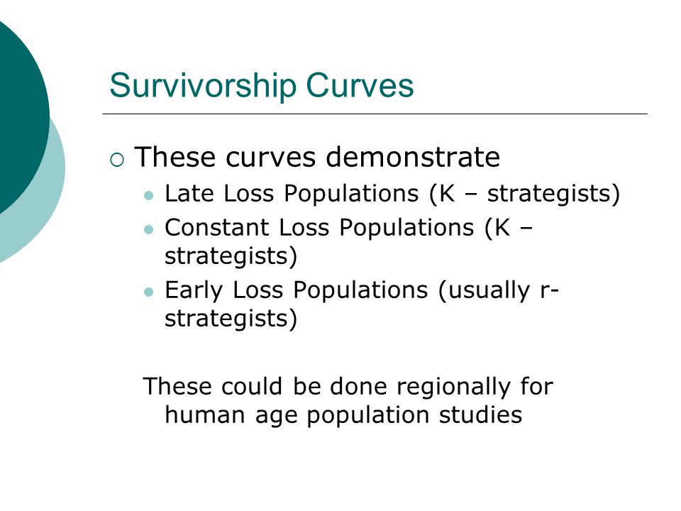 Survivorship Curves These curves demonstrate