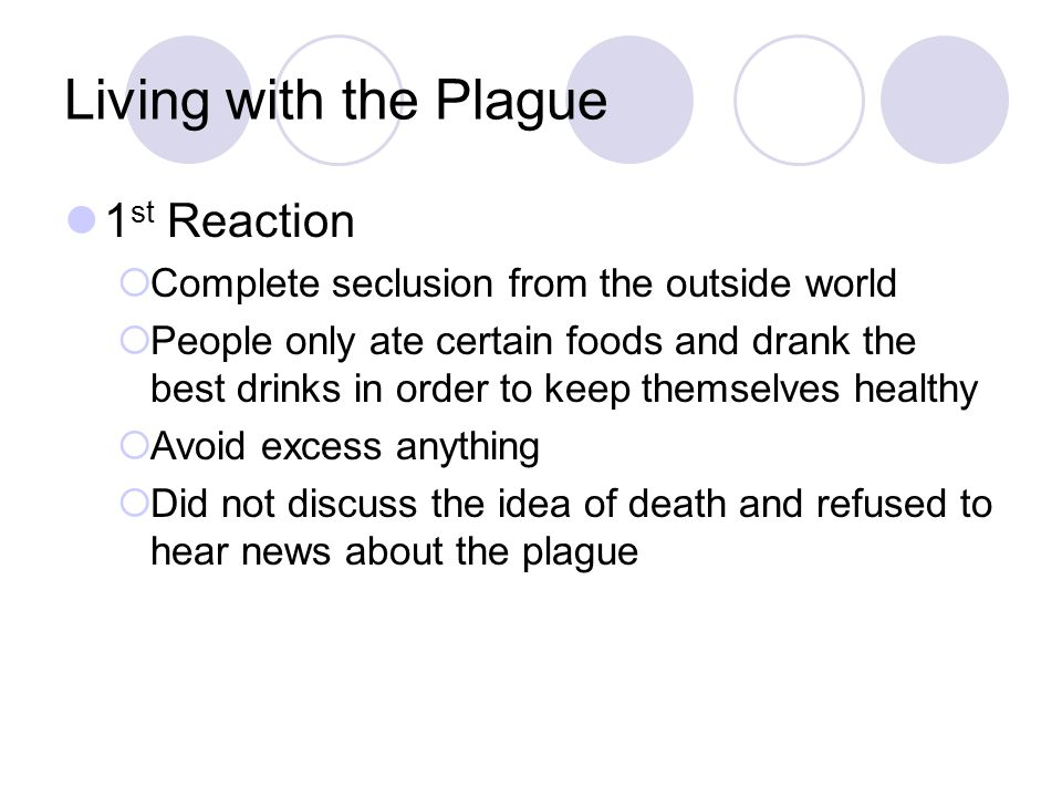 Living with the Plague 1st Reaction