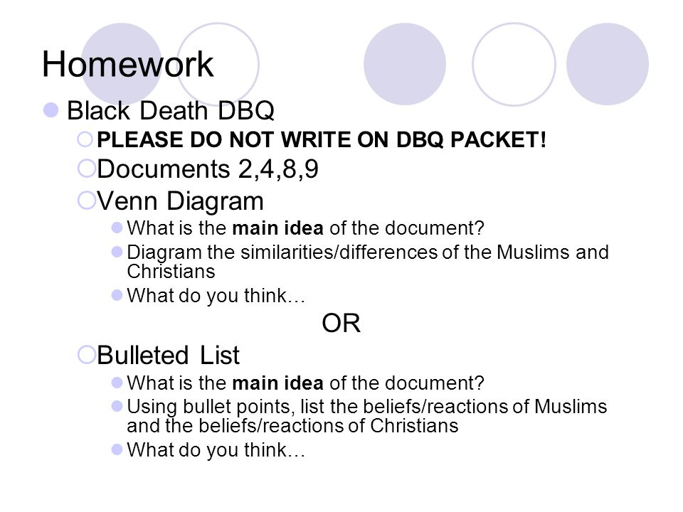 Homework Black Death DBQ Documents 2,4,8,9 Venn Diagram OR
