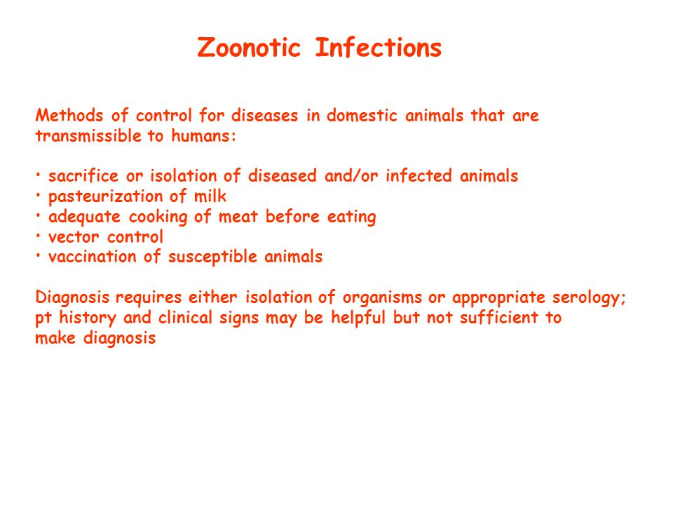 Zoonotic Infections Methods of control for diseases in domestic animals that are. transmissible to humans:
