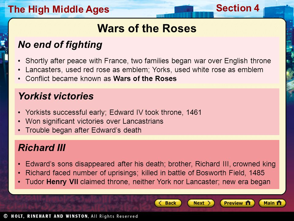 Wars of the Roses No end of fighting Yorkist victories Richard III