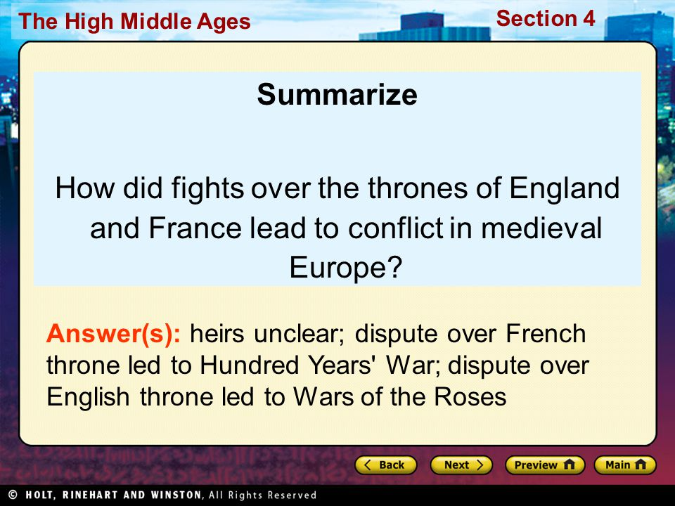 Summarize How did fights over the thrones of England and France lead to conflict in medieval Europe