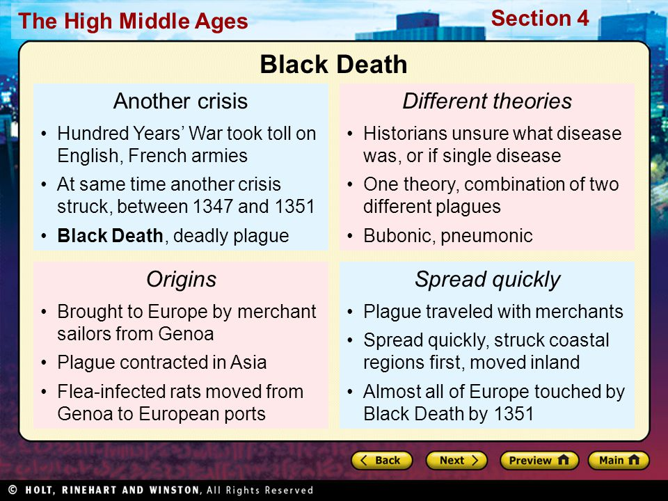 Black Death Another crisis Different theories Origins Spread quickly