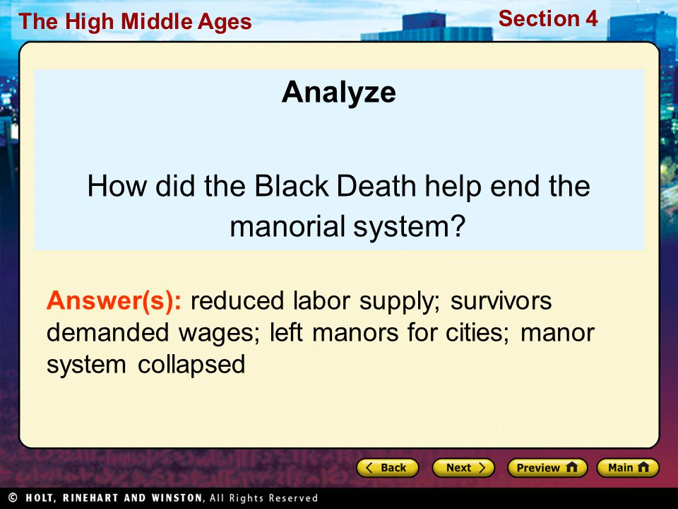 How did the Black Death help end the manorial system