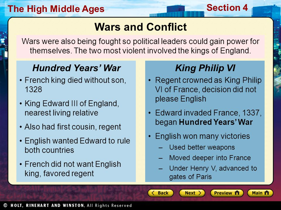 Wars and Conflict Hundred Years' War King Philip VI