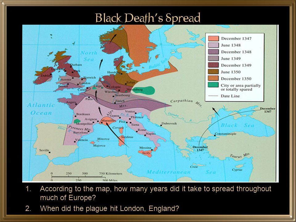 Black Death's Spread According to the map, how many years did it take to spread throughout much of Europe