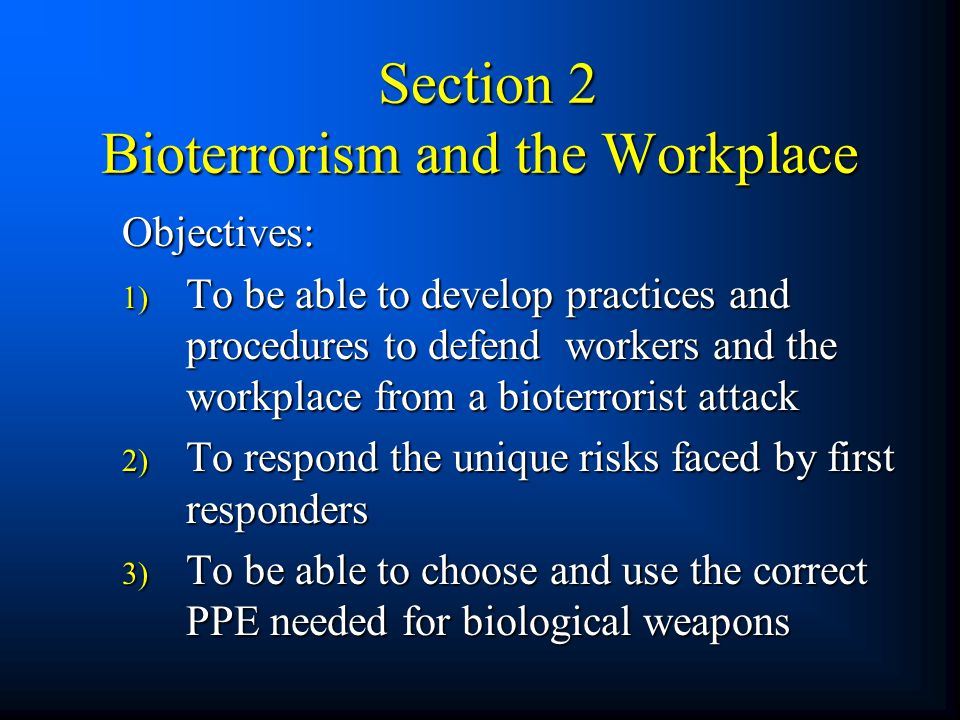 Section 2 Bioterrorism and the Workplace