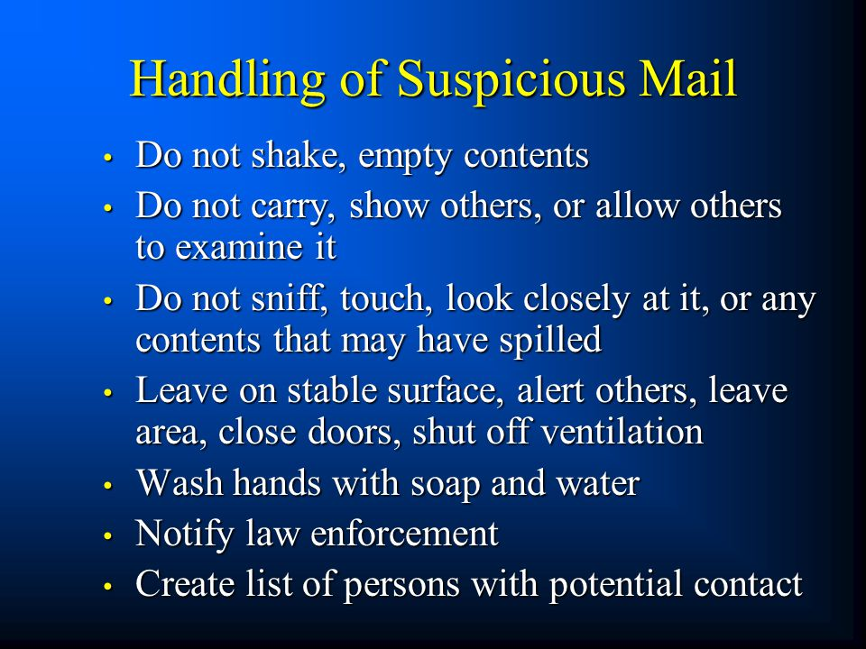 Handling of Suspicious Mail