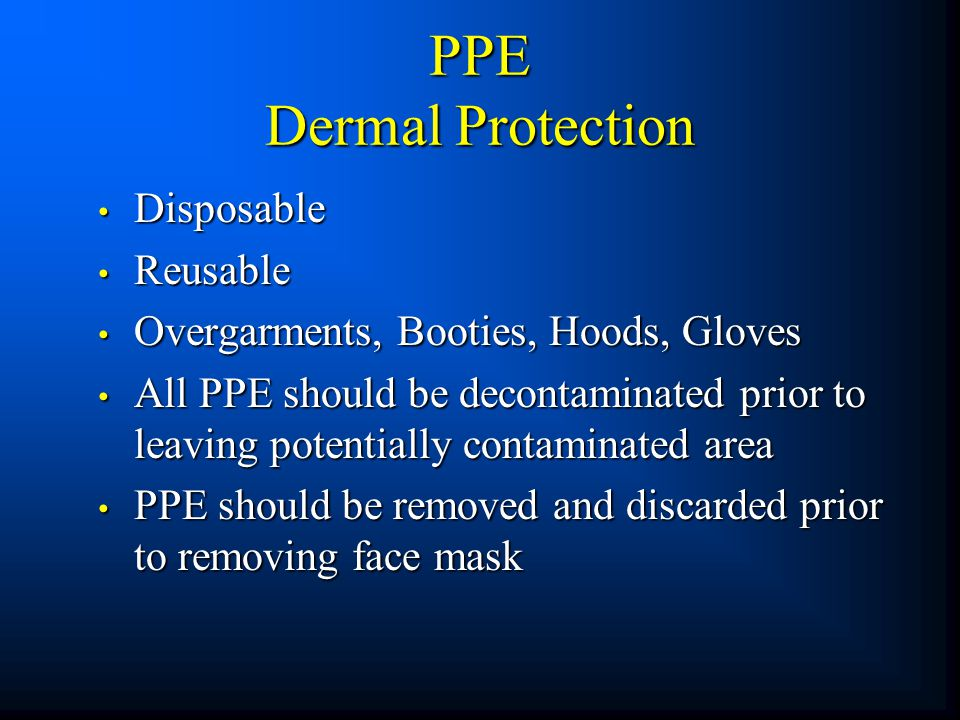 PPE Dermal Protection Disposable Reusable